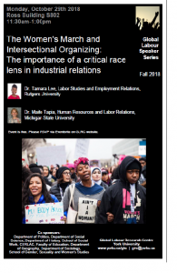 The Women's March and Intersectional Organizing: The importance of a critical race lens in industrial relations @ S802 - Ross Building - 8th floor  | Toronto | Ontario | Canada